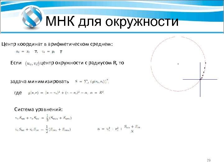 МНК для окружности Центр координат в арифметическом среднем: Если - центр окружности с радиусом
