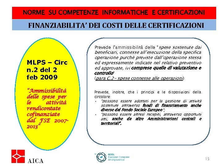 NORME SU COMPETENZE INFORMATICHE E CERTIFICAZIONI FINANZIABILITA' DEI COSTI DELLE CERTIFICAZIONI Prevede l'ammissibilità delle