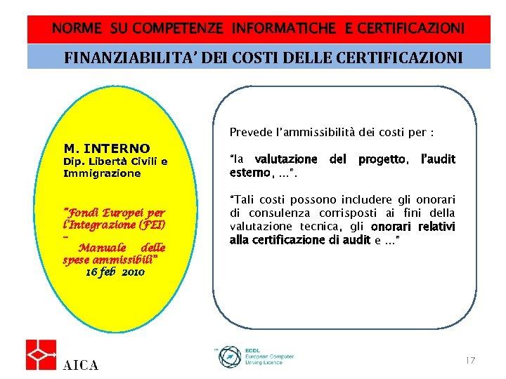 NORME SU COMPETENZE INFORMATICHE E CERTIFICAZIONI FINANZIABILITA' DEI COSTI DELLE CERTIFICAZIONI M. INTERNO Dip.