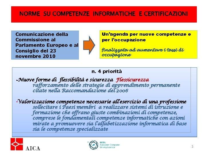 NORME SU COMPETENZE INFORMATICHE E CERTIFICAZIONI Comunicazione della Commissione al Parlamento Europeo e al