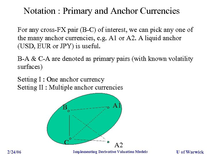 Notation : Primary and Anchor Currencies For any cross-FX pair (B-C) of interest, we