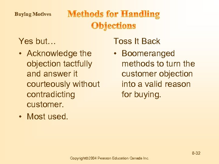 Buying Motives Yes but… • Acknowledge the objection tactfully and answer it courteously without