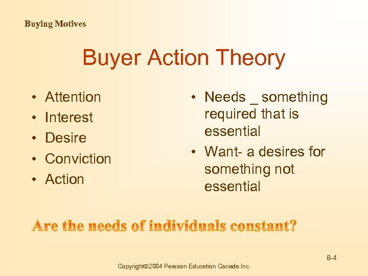 Buying Motives Buyer Action Theory • • • Attention Interest Desire Conviction Action •