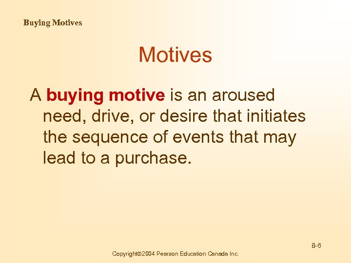 Buying Motives A buying motive is an aroused need, drive, or desire that initiates