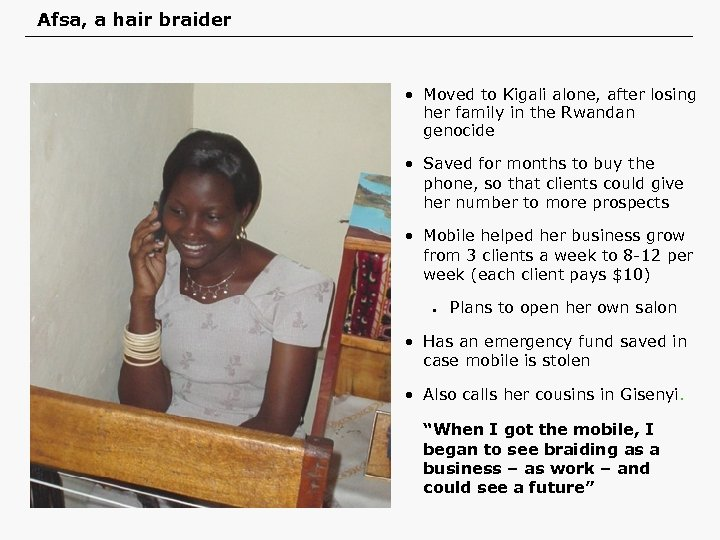Afsa, a hair braider • Moved to Kigali alone, after losing her family in