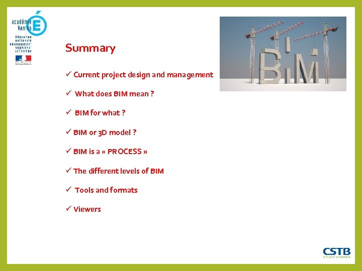 Summary Current project design and management What does BIM mean ? BIM for what