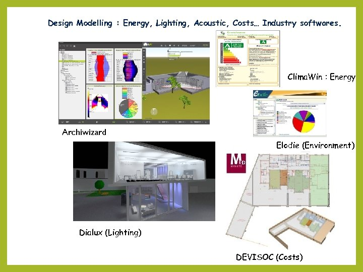 Design Modelling : Energy, Lighting, Acoustic, Costs… Industry softwares. Clima. Win : Energy Archiwizard