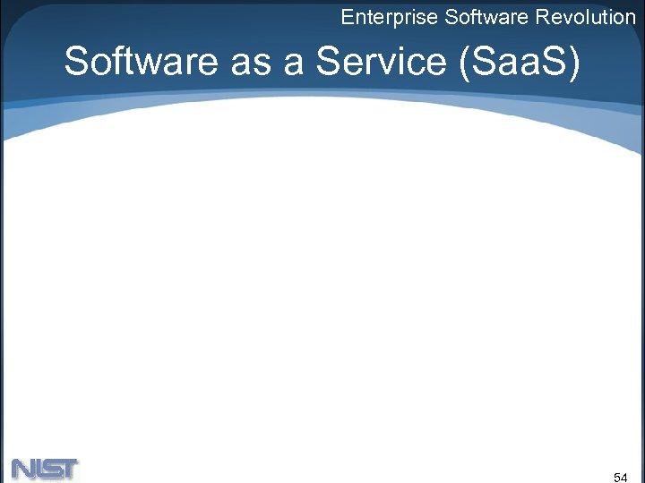 Enterprise Software Revolution Software as a Service (Saa. S) 54