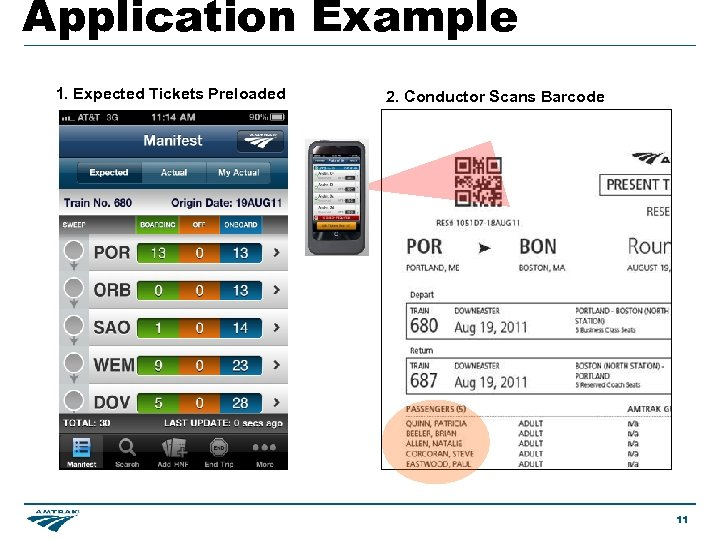 Application Example 1. Expected Tickets Preloaded 2. Conductor Scans Barcode 11