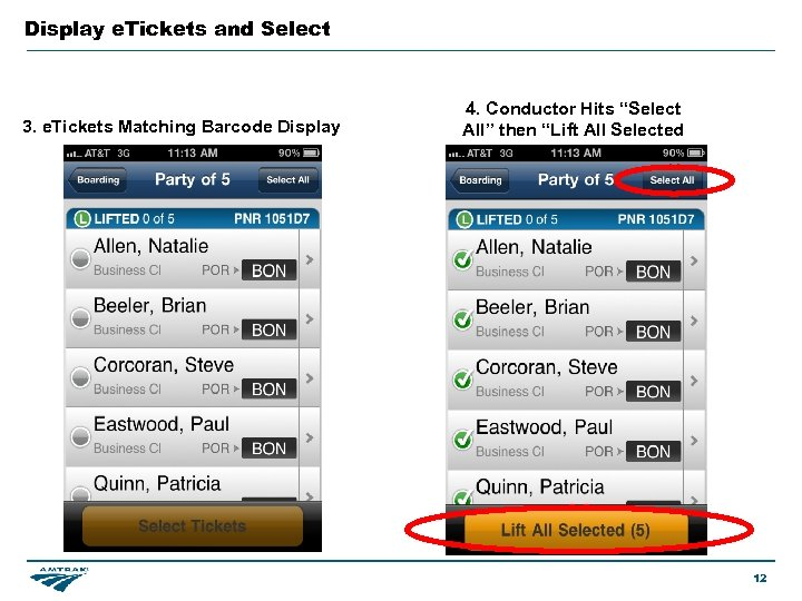 Display e. Tickets and Select 3. e. Tickets Matching Barcode Display 4. Conductor Hits