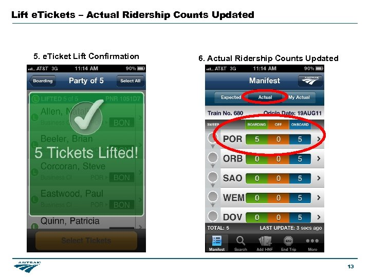 Lift e. Tickets – Actual Ridership Counts Updated 5. e. Ticket Lift Confirmation 6.