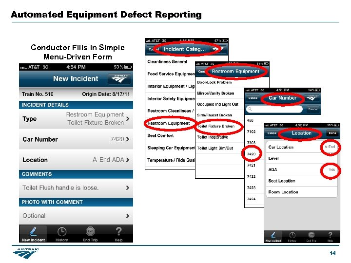 Automated Equipment Defect Reporting Conductor Fills in Simple Menu-Driven Form 14