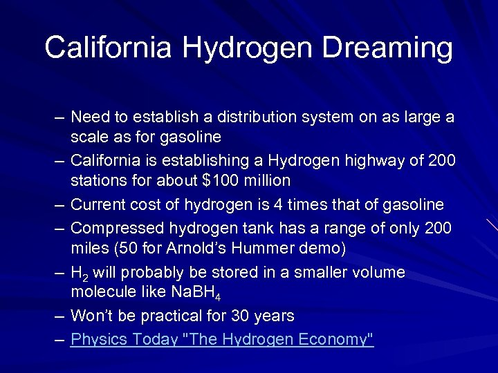 California Hydrogen Dreaming – Need to establish a distribution system on as large a