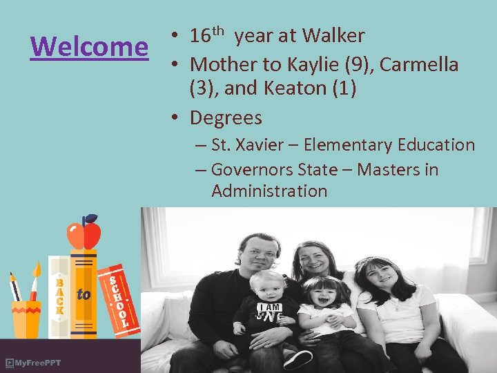Welcome • 16 th year at Walker • Mother to Kaylie (9), Carmella (3),