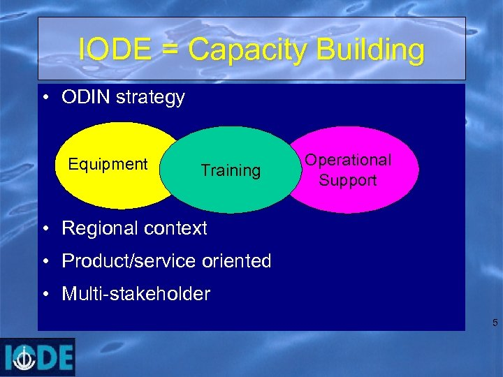 IODE = Capacity Building • ODIN strategy Equipment Training Operational Support • Regional context