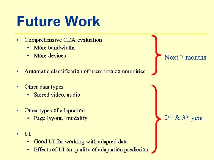 Future Work • Comprehensive CDA evaluation • More bandwidths • More devices Next 7