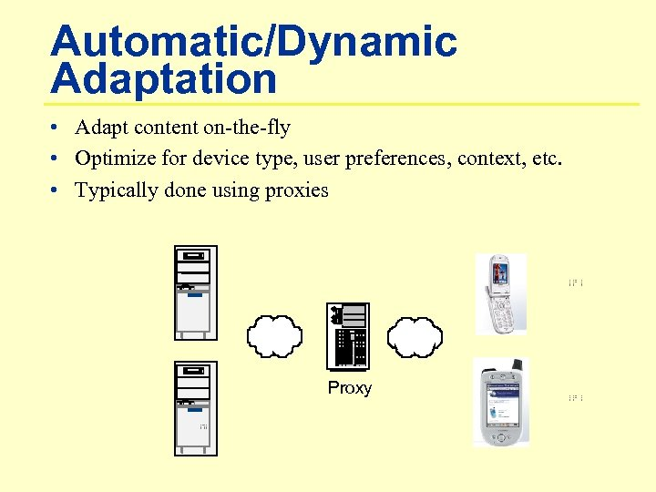 Automatic/Dynamic Adaptation • Adapt content on-the-fly • Optimize for device type, user preferences, context,