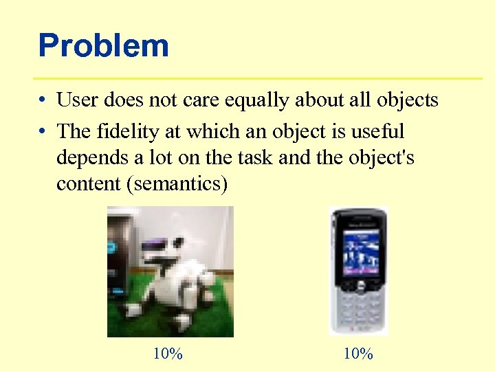 Problem • User does not care equally about all objects • The fidelity at