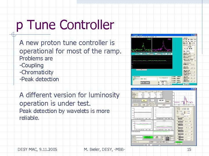 p Tune Controller A new proton tune controller is operational for most of the