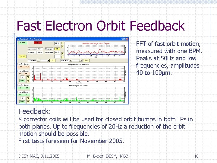 Fast Electron Orbit Feedback FFT of fast orbit motion, measured with one BPM. Peaks