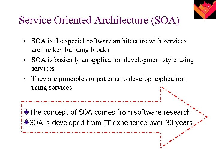 Service Oriented Architecture (SOA) • SOA is the special software architecture with services are