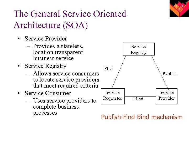 The General Service Oriented Architecture (SOA) • Service Provider – Provides a stateless, location
