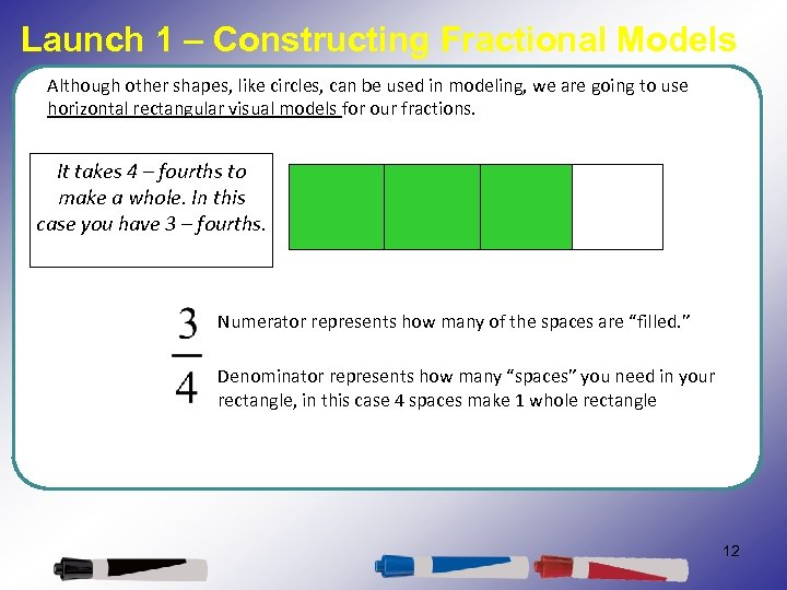 Launch 1 – Constructing Fractional Models Although other shapes, like circles, can be used