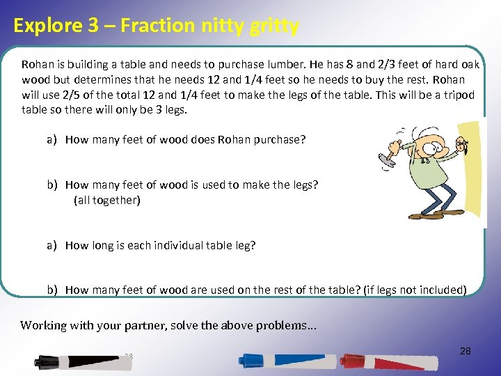Explore 3 – Fraction nitty gritty Rohan is building a table and needs to