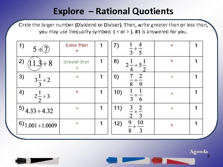 Explore – Rational Quotients Circle the larger number (Dividend or Divisor). Then, write greater