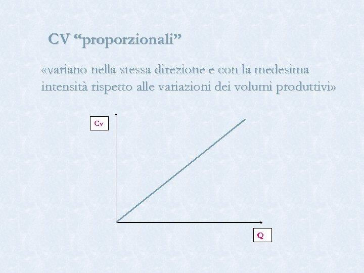 """CV """"proporzionali"""" «variano nella stessa direzione e con la medesima intensità rispetto alle variazioni"""