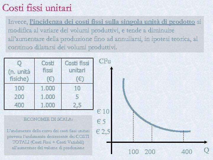 Costi fissi unitari Invece, l'incidenza dei costi fissi sulla singola unità di prodotto si