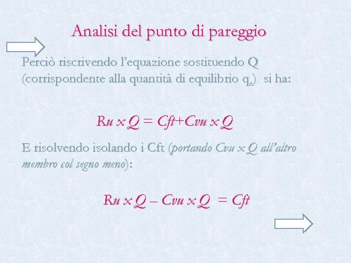 Analisi del punto di pareggio Perciò riscrivendo l'equazione sostituendo Q (corrispondente alla quantità di
