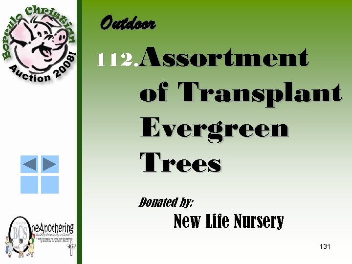 Outdoor 112. Assortment of Transplant Evergreen Trees Donated by: New Life Nursery 131