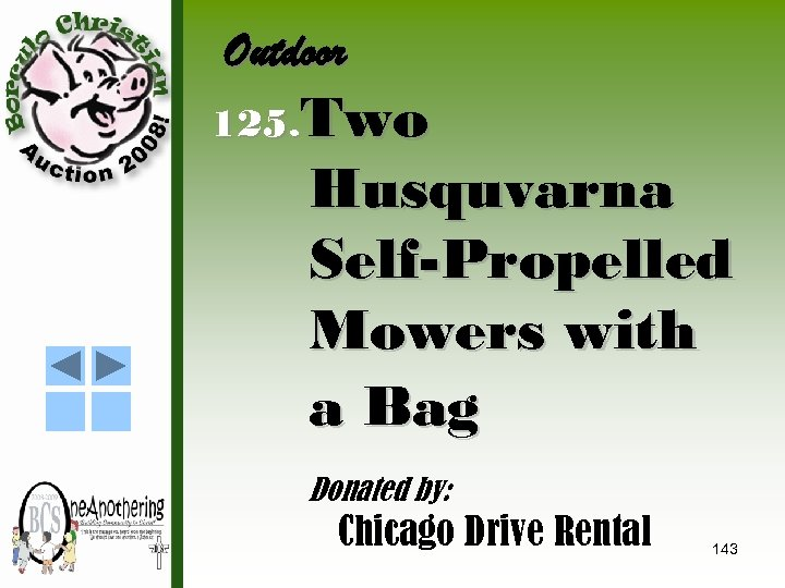 Outdoor 125. Two Husquvarna Self-Propelled Mowers with a Bag Donated by: Chicago Drive Rental