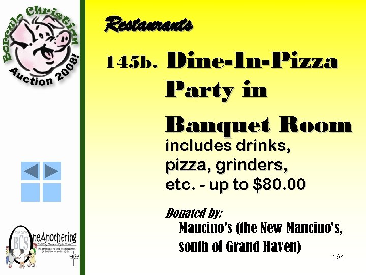 Restaurants 145 b. Dine-In-Pizza Party in Banquet Room includes drinks, pizza, grinders, etc. -
