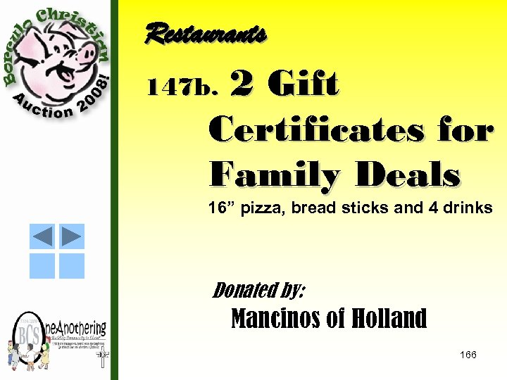 """Restaurants 2 Gift Certificates for Family Deals 147 b. 16"""" pizza, bread sticks and"""