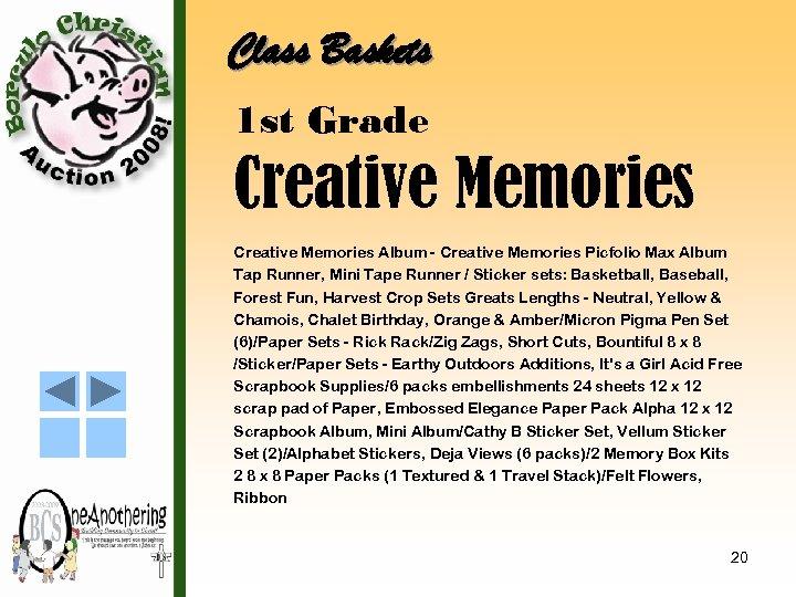 Class Baskets 1 st Grade Creative Memories Album - Creative Memories Picfolio Max Album