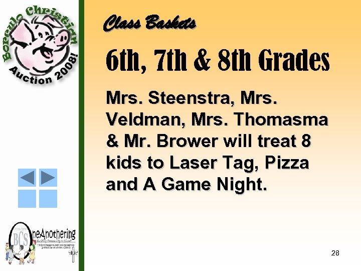 Class Baskets 6 th, 7 th & 8 th Grades Mrs. Steenstra, Mrs. Veldman,