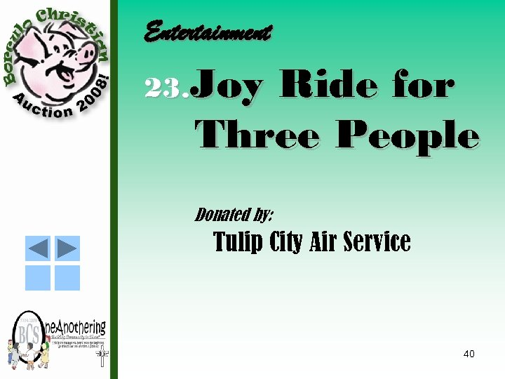 Entertainment 23. Joy Ride for Three People Donated by: Tulip City Air Service 40
