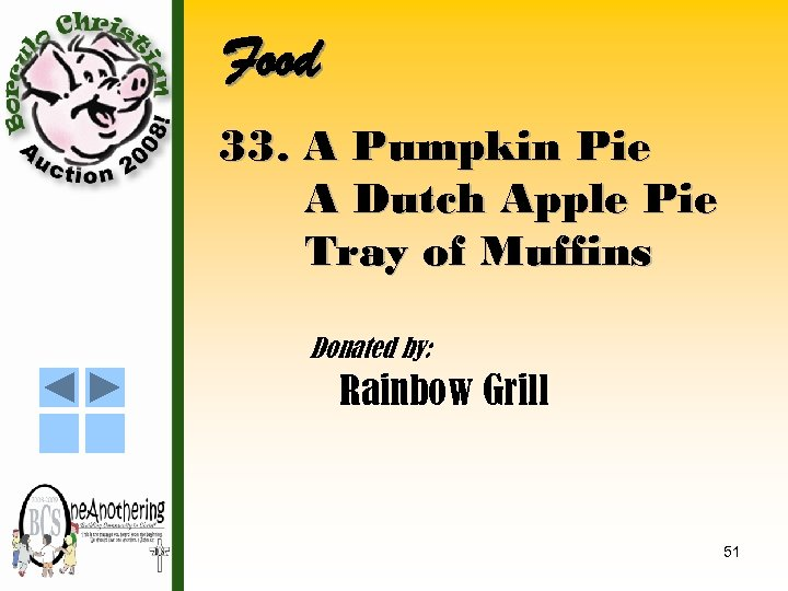 Food 33. A Pumpkin Pie A Dutch Apple Pie Tray of Muffins Donated by: