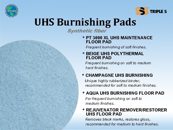 UHS Burnishing Pads Synthetic fiber • PT 3000 XL UHS MAINTENANCE FLOOR PAD Frequent