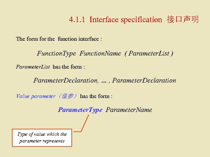 4. 1. 1 Interface specification 接口声明 The form for the function interface : Function.