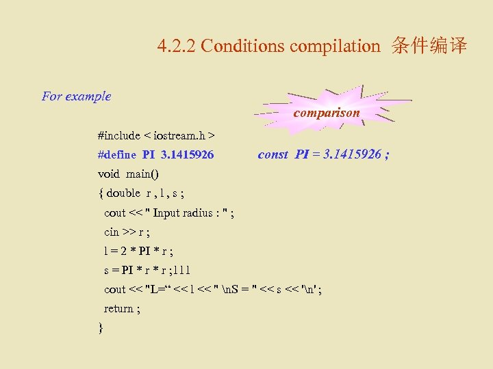 4. 2. 2 Conditions compilation 条件编译 For example comparison #include < iostream. h >