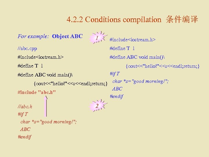 4. 2. 2 Conditions compilation 条件编译 For example: Object ABC 1 #include<iostream. h> //abc.
