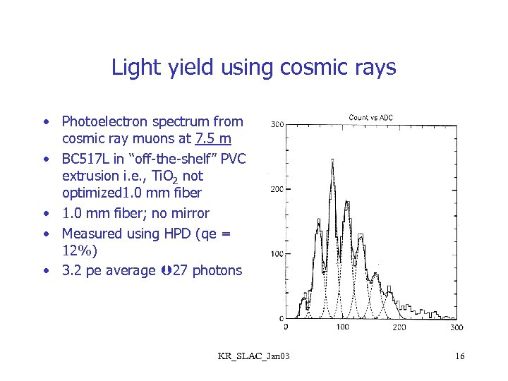 Light yield using cosmic rays • Photoelectron spectrum from cosmic ray muons at 7.