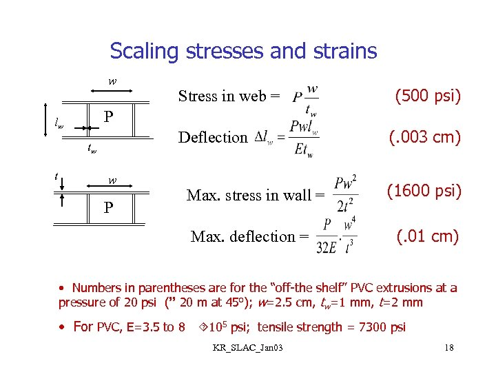 Scaling stresses and strains w (500 psi) P lw Deflection tw t Stress in