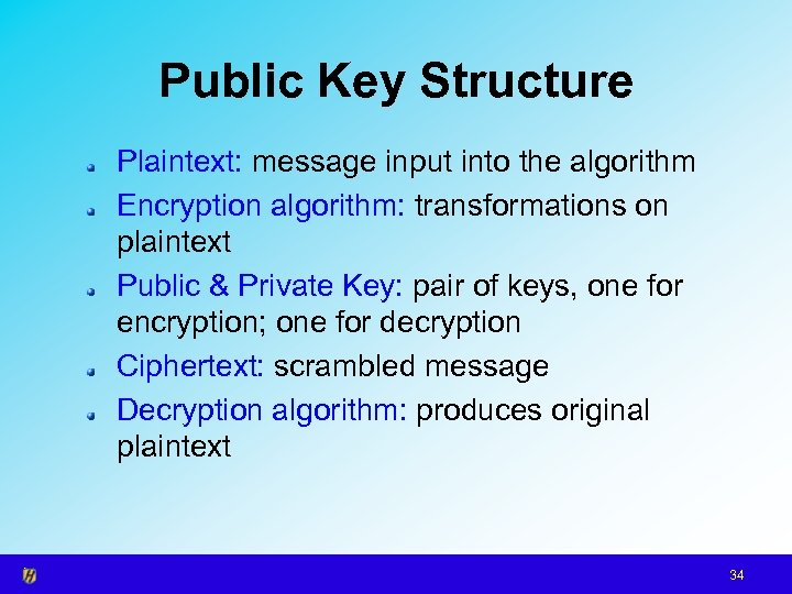 Public Key Structure Plaintext: message input into the algorithm Encryption algorithm: transformations on plaintext