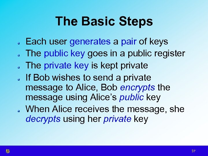 The Basic Steps Each user generates a pair of keys The public key goes