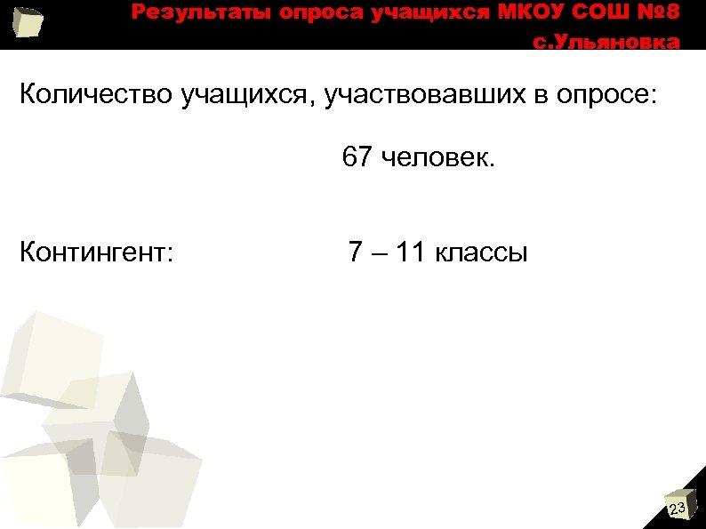 Результаты опроса учащихся МКОУ СОШ № 8 с. Ульяновка Количество учащихся, участвовавших в опросе:
