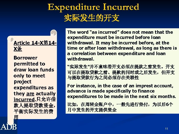 Expenditure Incurred 实际发生的开支 Article 14 -X第 14 X条 Borrower permitted to draw loan funds